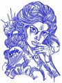 Girl with Barbie tattoo sketch embroidery design