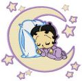 Betty sleeping on the Moon embroidery design