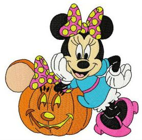 Minnie styled pumpkin machine embroidery design