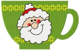Christmas cup of tea machine embroidery design