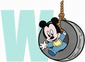 Mickey Mouse W Wheel machine embroidery design