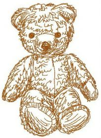 Old bear toy 4 machine embroidery design