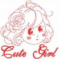 Cute girl free embroidery design 6