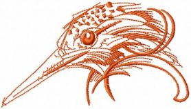 Woodpeckers head free embroidery design