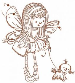 Fairy with dog embroidery design