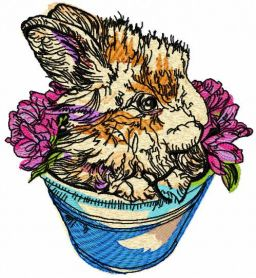 Rabbit in flower pot embroidery design