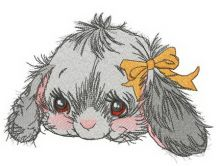 Fluffy bunny with orange bow