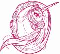 Moonlight unicorn one color embroidery design