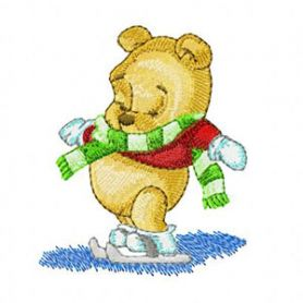Baby Pooh on Winter machine embroidery design
