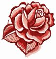 Red rose with shadow embroidery design