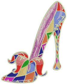 Harlequin high heels machine embroidery design