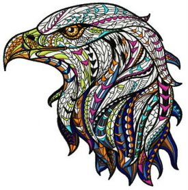 Mosaic eagle machine embroidery design