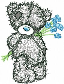 Tatty Teddy Bear with blue flowers applique machine embroidery design