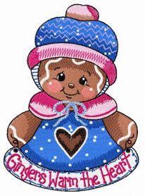 Gingers warm the heart machine embroidery design