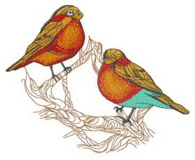 Birdie couple on tree branch machine embroidery design