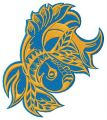 Grumpy golden fish embroidery design