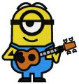 Minion with guitar embroidery design