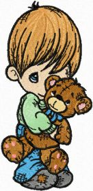 Boy with Bear machine embroidery design