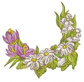 Crocuses, chamomiles and lilies of the valley machine embroidery design