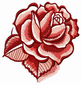 Red rose with shadow machine embroidery design