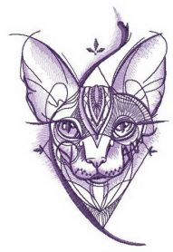 Sphynx cat geometric pattern machine embroidery design