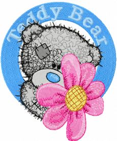 Teddy bear with flower badge machine embroidery design