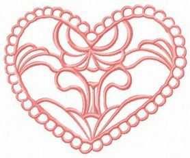 Heart decoration element machine embroidery design