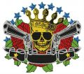 Skull, crown, guns embroidery design