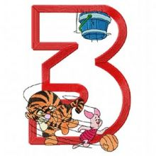 Tiger Piglet Basketball Sport Number Three