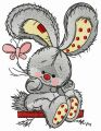 Bunny swinging on teeter 5 embroidery design
