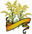 Goldenrod Flower with Banner embroidery design