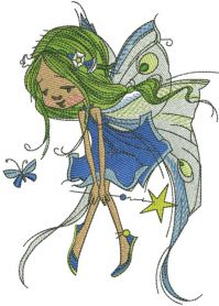 green fairy with magic wand embroidery design