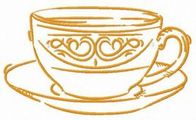 Cup of latte machine embroidery design