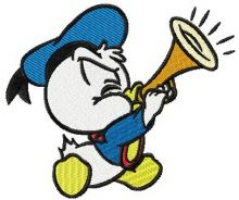 Little Donald Duck plays trumpet