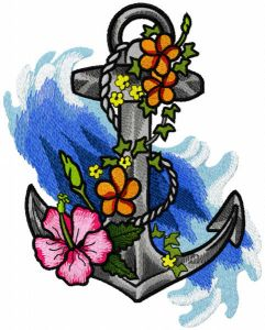 Old anchor in flowers