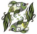 Green-tailed fish embroidery design