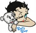 Betty Boop and her beautiful dog  embroidery design