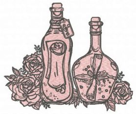 Bottles and flowers 2 machine embroidery design