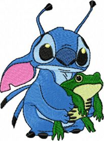 Stitch and Frog machine embroidery design