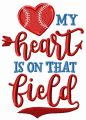 My heart is on that field embroidery design