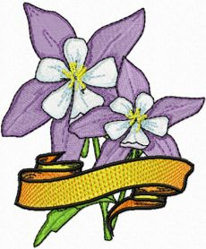 Columbine Flower with Banner machine embroidery design