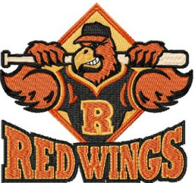 Rochester Red Wings logo machine embroidery design
