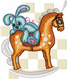 Old Toys Bunny Riding a Horse machine embroidery design