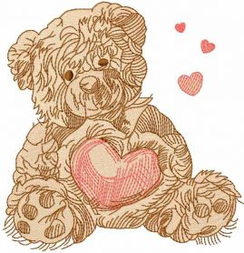 Old bear toy embroidery design 11