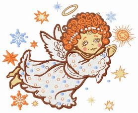 Angel flying machine embroidery design