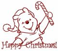 Winnie the Pooh in santa hat 2 embroidery design