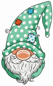 Gnome in polka dot phrygian cap machine embroidery design