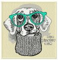 Hipster dog embroidery design