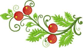 Branch with berry free embroidery design