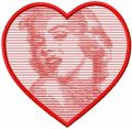 Marilyn Monroe heart free embroidery design